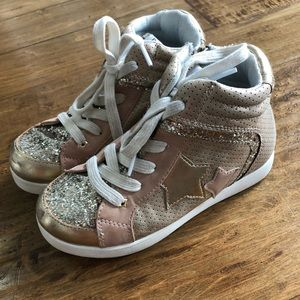 Justice girls gold high top sneakers size 2